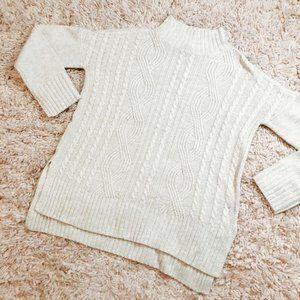 Sanctuary Cream Knit 3/4 Sleeve Turtleneck Sweater